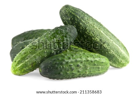 cucumbers on a white background - stock photo