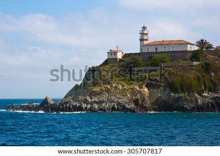 Cudillero view in asturias spain - stock photo