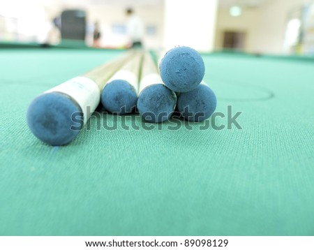 cue sticks on green table indoors - stock photo