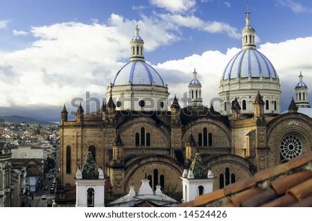 Cuenca, Ecuador - Domes Cathedral - stock photo