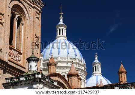 Cuenca  is a beautifllly colonial city, packed with historical monuments and architectural treasures. Cityscape - old town - Domed Cathedral - stock photo