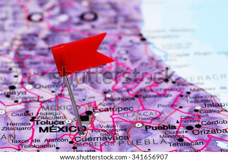 Cuernavaca pinned on a map of Mexico  - stock photo