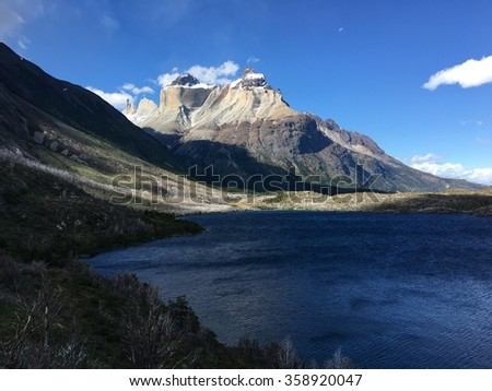 Cuernos del Paine in Torres del Paine National Park, Chile - stock photo