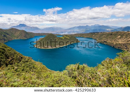 Cuicocha crater lake, Reserve Cotacachi-Cayapas, Ecuador - stock photo