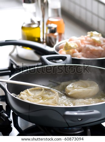 cuisine and pan - stock photo