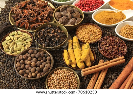 Cuisine ingredients - herbs and spices. Food background. - stock photo
