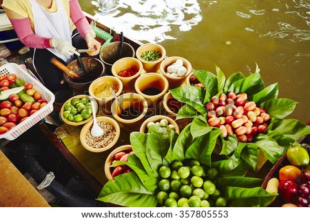 Cuisine on the boat -  Bangkok, Thailand - stock photo