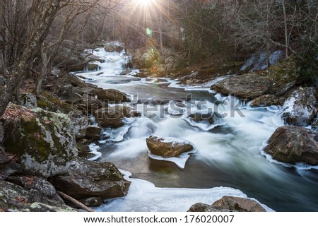 Cullasaja Gorge Winter Landscape Scenic along the Mountain Waters Scenic Byway in Highlands, Western North Carolina - stock photo