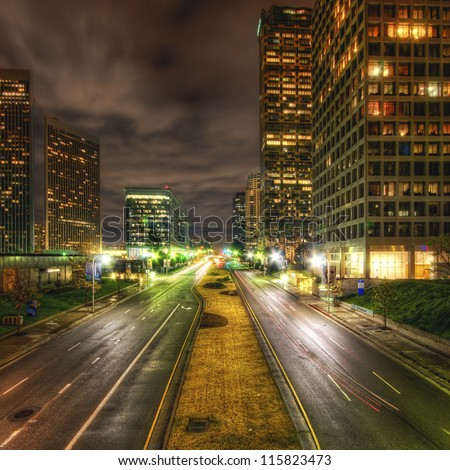 Culver City Traffic at night - stock photo