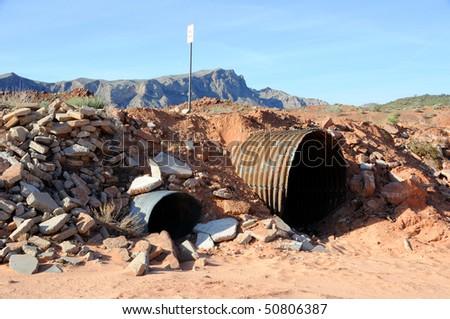 Culvert in Nevada Desert Wash - stock photo