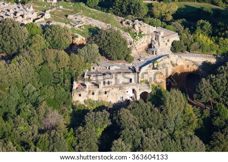 Cuma is an archaeological site of the metropolitan city of Naples , in the municipalities of Bacoli and Pozzuoli , located in the volcanic area of Campi Flegrei - stock photo