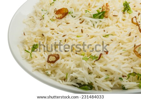 Cumin rice - indian famous rice - stock photo