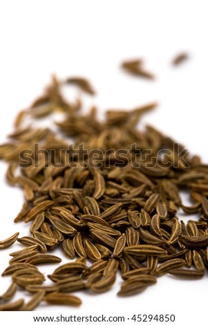 cumin seeds closeup on white background - stock photo