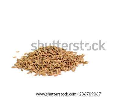 cumin seeds isolated on white background - stock photo