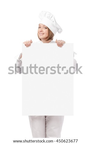 cunning female chef, cook or baker holding blank board with empty copy space for you text isolated on white background. advertisement banner. your text here - stock photo