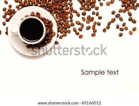 cup and coffee beans isolated over white background - stock photo