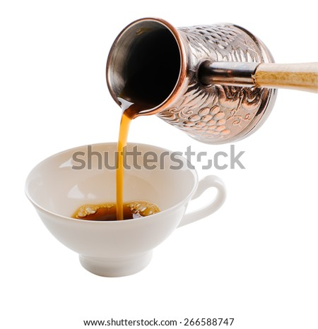cup and coffee turk  isolated on white background - stock photo