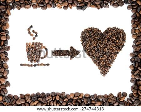 Cup and heart from coffee grains. Espreso. Americano. Cappuccino. Latte. - stock photo