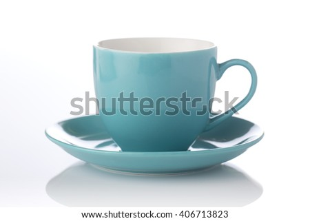 cup and saucer  on white background. - stock photo