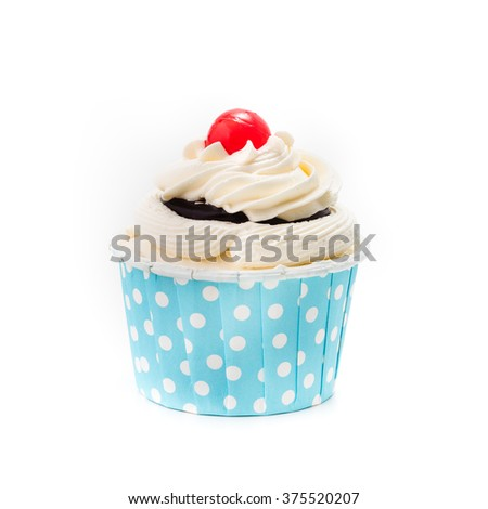 cup cake isolated on white background - stock photo