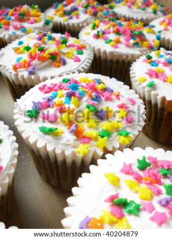Cup cake stacks - stock photo