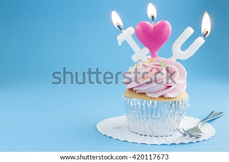 Cup Cake with I love you candle light - stock photo
