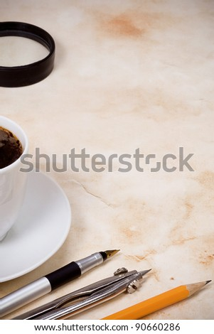 cup coffee and vintage at old paper texture parchment - stock photo
