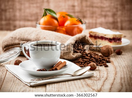 Cup coffee breakfast rustic style stock photo - stock photo