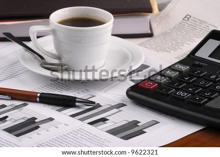 Cup  coffee,  business news - stock photo