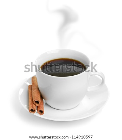 cup coffee with cinnamon isolated on white background - stock photo