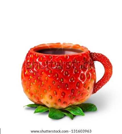 Cup from a strawberry with hot tea. healthy food - stock photo