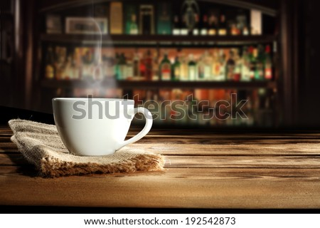 cup napkin and bar  - stock photo