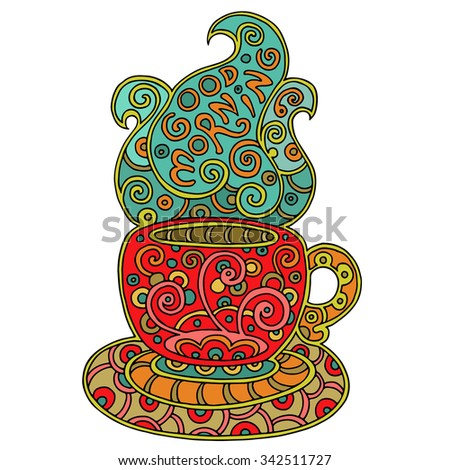 Cup of aromatic tea or cofee with text. Doodle element for  restaurant menu design. Colored decorative morning cup with saucer and steam.  Hand-drawn illustration isolated on white. - stock photo