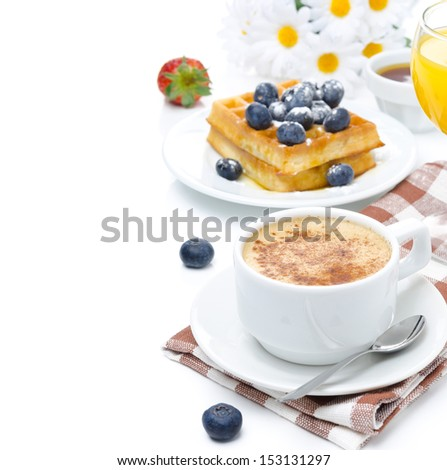 cup of cappuccino, belgian waffles with blueberries, orange juice for breakfast isolated on a white background - stock photo
