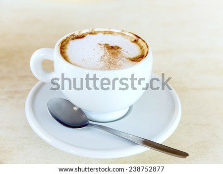 cup of cappuccino with cinnamon on the table with a saucer and spoon - stock photo