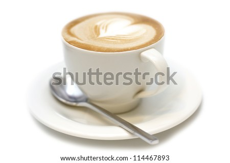 cup of cappuccino with foam in the form of heart - stock photo