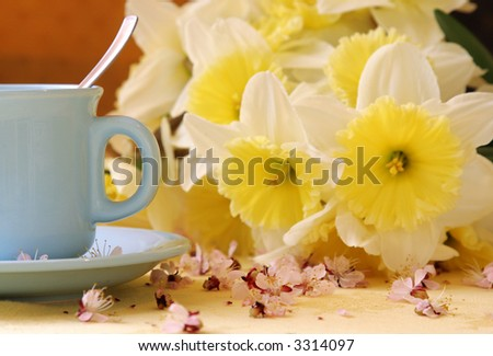 cup of coffe with flowers 3. - stock photo