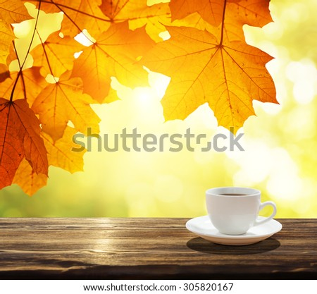 cup of coffee and autumn leaves - stock photo