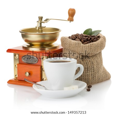 cup of coffee and beans isolated on white background - stock photo