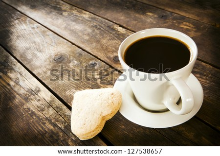 Cup of coffee and cake. - stock photo