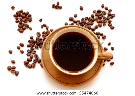 Cup of coffee and coffee-beans - stock photo