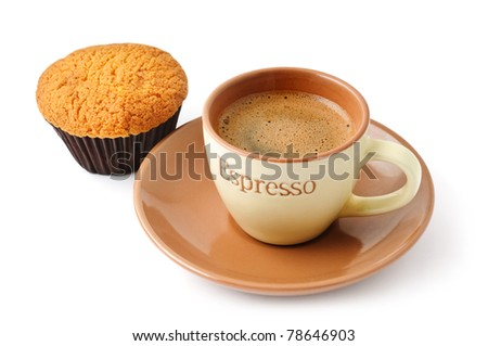 Cup of coffee and cupcake isolated on white background - stock photo