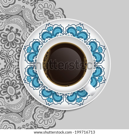 Cup of coffee and decorative ornament on a saucer and background Top view. - stock photo