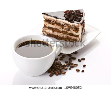 cup of coffee and delicious cake on white background - stock photo
