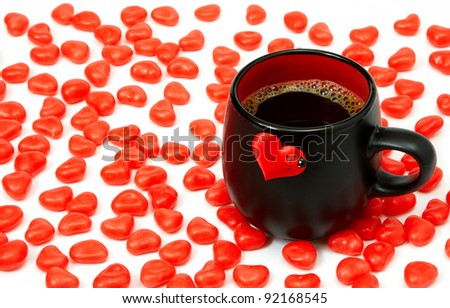 Cup of coffee and hearts - stock photo
