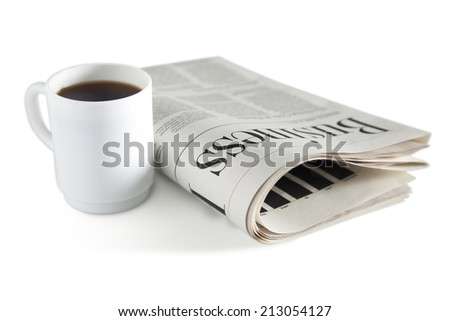 Cup of coffee and newspaper isolated on white, clipping path included - stock photo