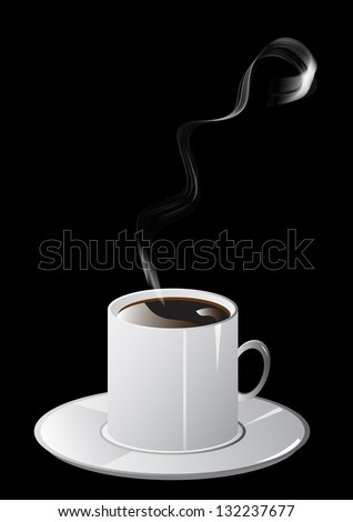 Cup of coffee and smoke. Raster version. - stock photo