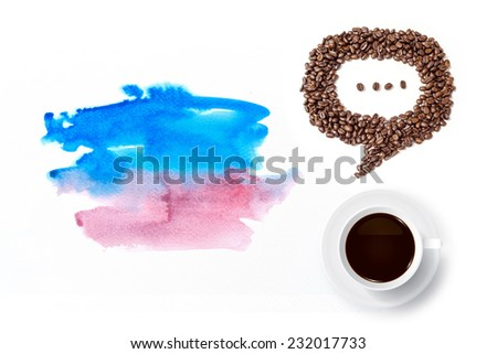 Cup of coffee and speech bubble of coffee beans with watercolor brush background. - stock photo