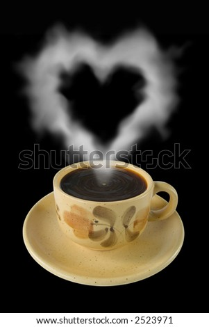 Cup of coffee and steam like a heart, isolated on black - stock photo