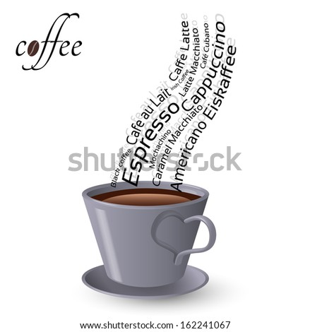 Cup of coffee and words popular types of coffee - Raster version - stock photo